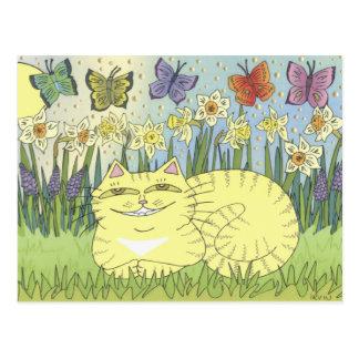 Daydream of the Daffodil Tabby Postcard