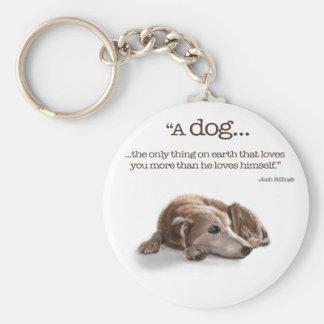 Daydreaming Dog Illustration Basic Round Button Keychain