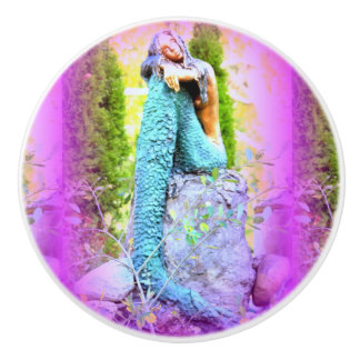 daydreaming mermaid ceramic knob