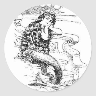 Daydreaming Mermaid Round Sticker