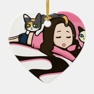 Daydreaming with the Cats Ceramic Heart Ornament