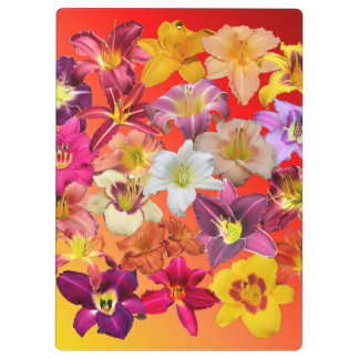 Daylily Collage on Warm Tones Clipboards