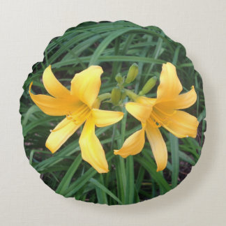 "DAYLILY ""Downey"" Gold Duo --- Round Pillow"