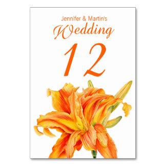 Daylily Hemerocallis floral wedding table numbers