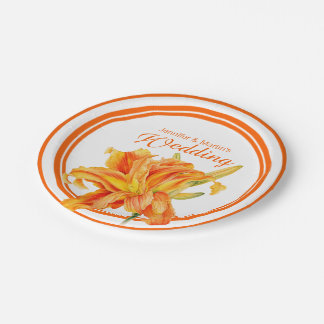 Daylily orange watercolor art custom paper plates