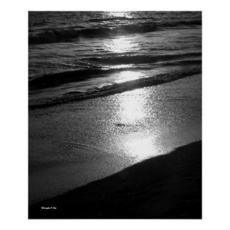 Day's End at Dog Beach B/W Poster
