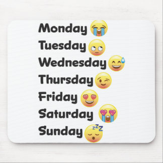 Days of the Week Emoji Computer Mouse Pad