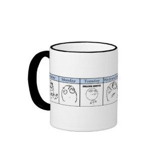 Days of the Week Memes Ringer Coffee Mug