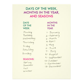 Days of the Week, Months in the Year & Seasons Letterhead Template
