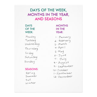 Days of the Week, Months in the Year & Seasons Personalized Letterhead