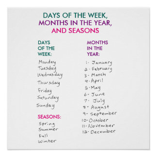 Days of the Week, Months in the Year & Seasons Poster