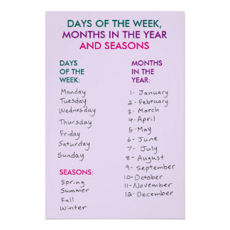 Days of the Week, Months in the Year & Seasons v3 Perfect Poster