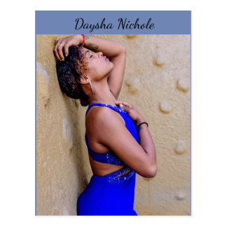 Daysha Nichole, in blue dress, postcard