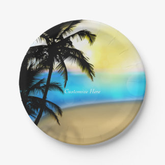 Daytime Beach & Palm Trees Tropical Wedding Plates