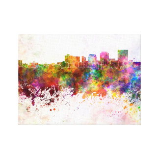 Dayton skyline in watercolor background canvas print