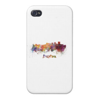 Dayton skyline in watercolor cover for iPhone 4
