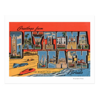 Daytona Beach, Florida - Large Letter Scenes Postcard