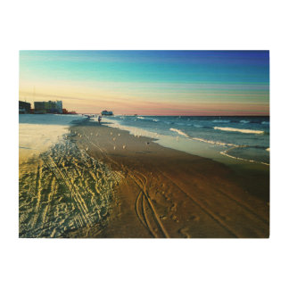 Daytona Beach Shoreline and Boardwalk Wood Print