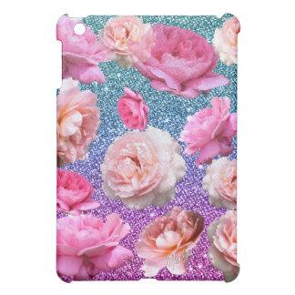 Dazzling Aqua Pink Glitter Floral iPad Mini Case