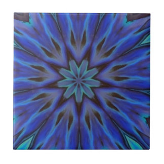 Dazzling Blue Abalone Mother of Pearl Mandala Tile