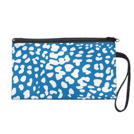 Dazzling Blue and White Leopard Print Wristlet Bag