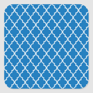 Dazzling Blue And White Moroccan Trellis Pattern Square Stickers