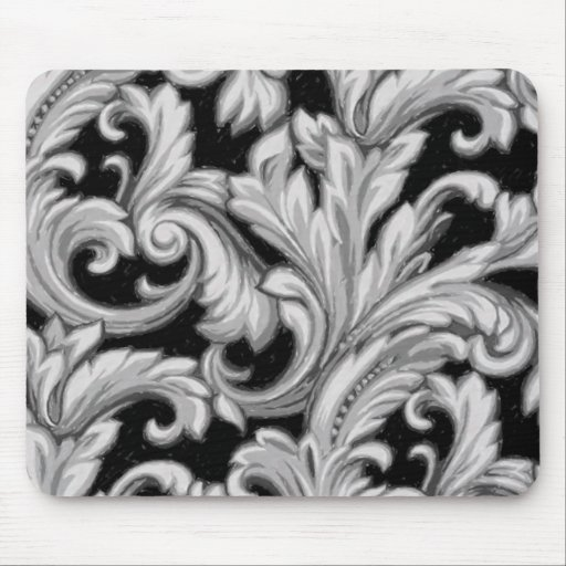 Dazzling Damask, Gray and Black Mouse Pad