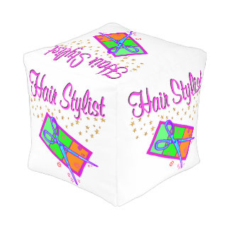 DAZZLING HAIR STYLIST AND BEAUTICIAN CUBE POUF