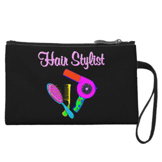DAZZLING HAIR STYLIST TEES AND GIFTS WRISTLET CLUTCH
