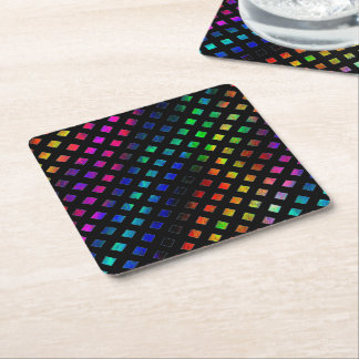 Dazzling Multi Colored Diamonds Square Paper Coaster