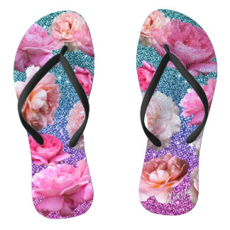 Dazzling Ombre Glitter Blooming Roses Flip Flops