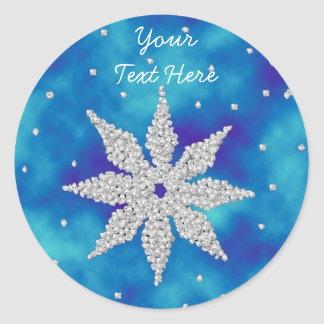 Dazzling Snowflakes on Misty Blue - Stickers