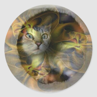 Dazzling Space Kitty gift collection Classic Round Sticker