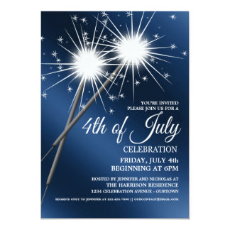 Dazzling Sparklers 4th of July Party Invitations
