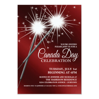 Dazzling Sparklers Canada Day Party Invitations