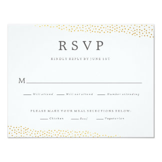 "Dazzling wedding faux foil response rsvp card 4.25"" x 5.5"" invitation card"