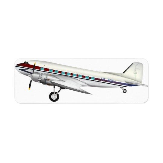 DC3 Aircraft Return Address Label