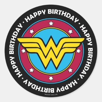 Wonder Woman Circle Stars Logo Classic Round Sticker Zazzle