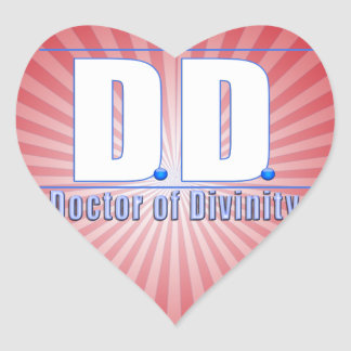 DD Doctor of Divinity Acronym LOGO Heart Stickers