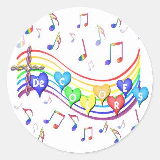 De Colores Music Staff Classic Round Sticker