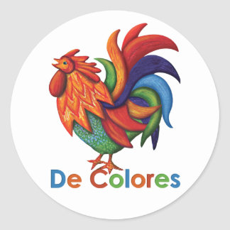 De Colores Rooster Gallo Round Sticker, Matte Classic Round Sticker