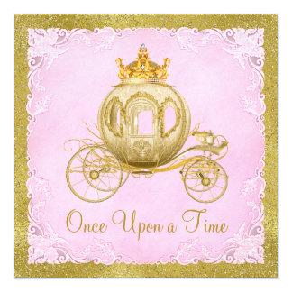 De filles princesse Carriage Birthday il était une Carton D'invitation 13,33 Cm