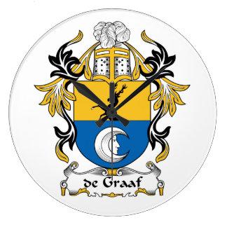 de Graaf Family Crest Large Clock