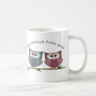 De hibou amour toujours vous, art mignon de hiboux mug blanc