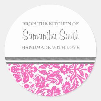 De la cuisine de la damassé de rose d'autocollant sticker rond