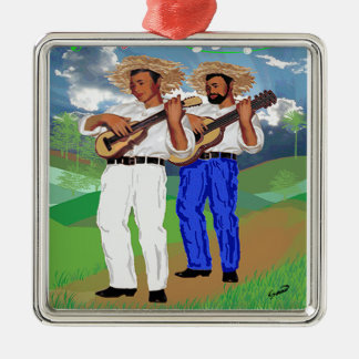 """""""De las Montañas Venimos...."""" Silver-Colored Square Ornament"""