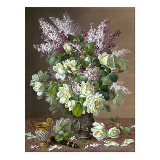 De Longpré Roses and Lilacs CC0600 Flower Postcard