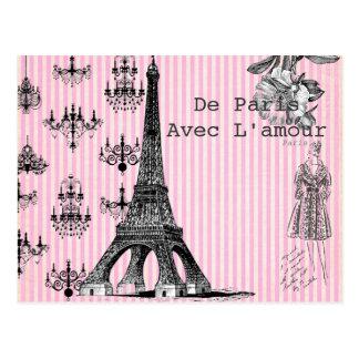 De Paris, avec la carte postale d'amour