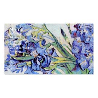 De Van Gogh toujours vase à la vie avec des iris, Carte De Visite