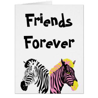 De zèbre d'amis carte de voeux pour toujours